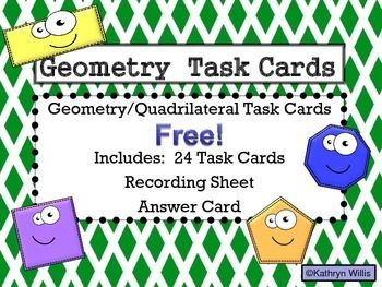 This is a set of 24 Geometry task cards.  They are aligned to the third grade Geometry common core standard:  MCC3.G.1.  These task cards discuss different quadrilaterals and polygons and have a range of depth of knowledge questions.  24 task cards, a recording sheet, and answer card is included.