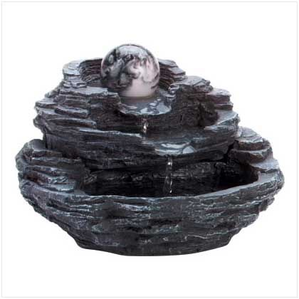 34807+Rock+Design+And+Marble+Orb+Tabletop+Water+Fountain Rock design desktop fountain with faux marble ball. 120v pump included. UL Recognized. For indoor use only. SKU34807 Price$49.95 Sale Price$39.96