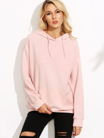 Pink Drop Shoulder Hooded Sweatshirt With Pocket-L