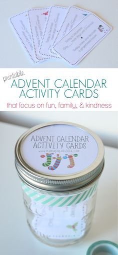 Printable Advent Calendar Activity Cards. Such a fun way to countdown Christmas!!