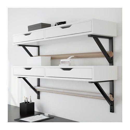 Wandplank Met Lade Zwart.Ekby Alex Ekby Valter Plank Met Lade Wit Zwart Doe Het Zelf