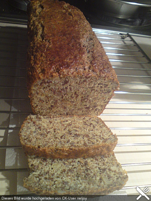 Low-carb Brot: 300g fat-free quark, 8 eggs, 100g ground almonds or hazelnuts, 100g ground flaxseed, 40g (less?) toasted soya bran, 2 Tbsp soy flour, 2 1/2 tsp baking powder, 1 tsp salt, opt: 2 tsp sunflower seeds (to sprinkle on top). 150 C, for about 60 min. After first 15 min in oven, use a knife to cut groove in top to encourage good rising shape.