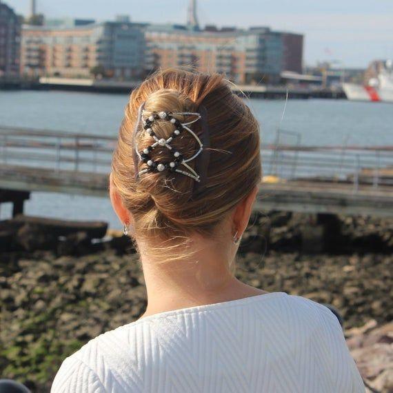Magische Haarspange, schwarz & silber Kristallfarbe, stilvolles Haar, alltägliches Haar-Accessoire, halten alle