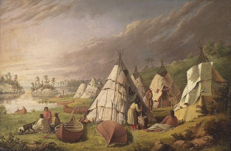"""Paul Kane's fieldwork and studio paintings are often treated as discrete categories within the artist's """"Indian project."""" Paul Kane, """"Indian Encampment on Lake Huron,"""" c. 1845, Art Gallery of Ontario."""