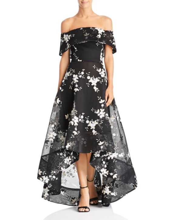 BRONX AND BANCO Off the Shoulder Embroidered Ball Gown