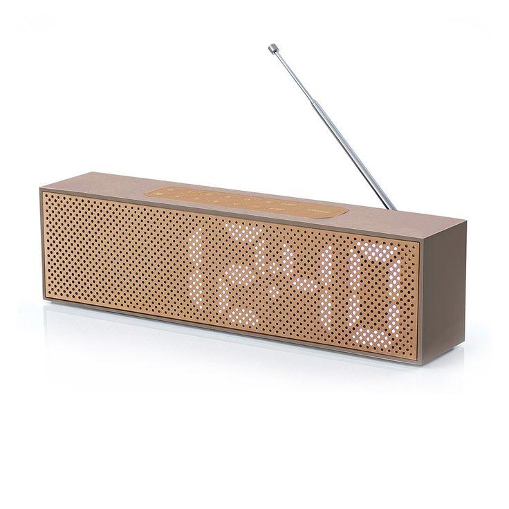 Discover the Lexon Titanium LED Clock Radio - Soft Gold at Amara