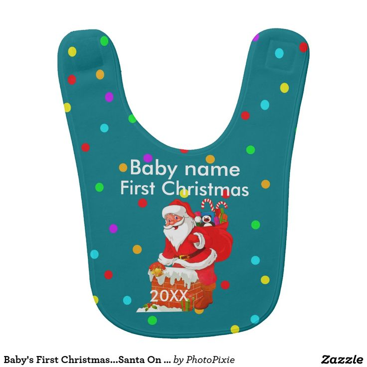 Baby's First Christmas...Santa On Green Baby's Bib