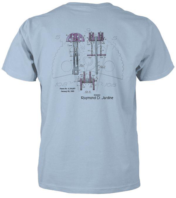Jardine Cam— original patent art design on a light blue t-shirt. 8 other colors plus zip hoodies also available at www.patentwear.com