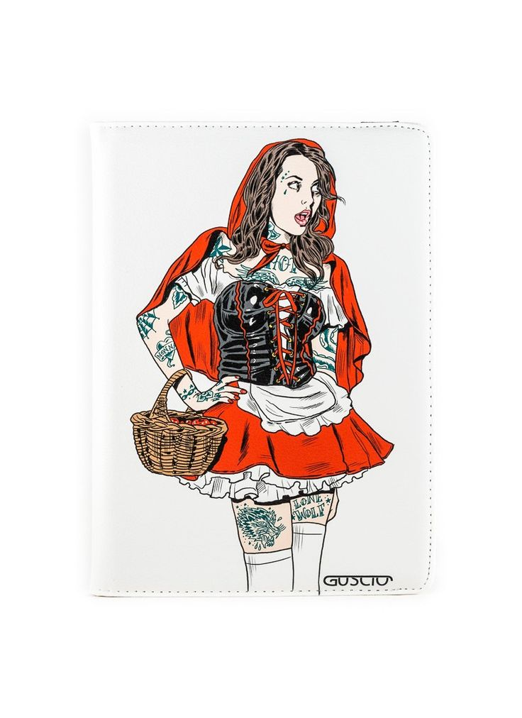 Apple iPad Schutzhülle - sexy Pinup im Rotkäppchen Style - Die Zeichnung wurde vom italienischen Grafiker & Karrikaturisten Marco Calcinaro exklusiv für Guscio erstellt -  mehr coole Motive gibt es in unserem Online Shop http://www.guscioshop.com