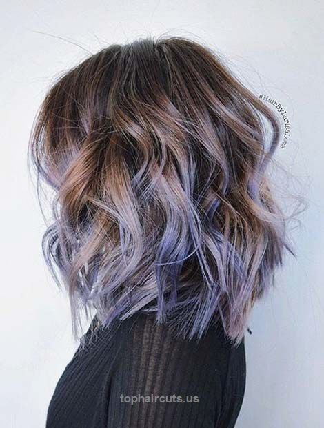 31 Lob Haircut Ideas for Trendy Women | StayGlam  Curly Layered Lob + Lavender Highlights  http://www.tophaircuts.us/2017/06/13/31-lob-haircut-ideas-for-trendy-women-stayglam/