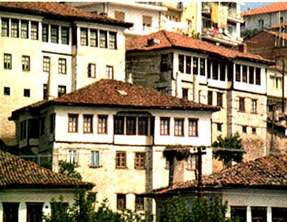 Old, traditional houses in Kastoria in Western Macedonia