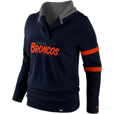 Nike Denver Broncos Women's Play Action Hooded Top - Navy Blue $49.95