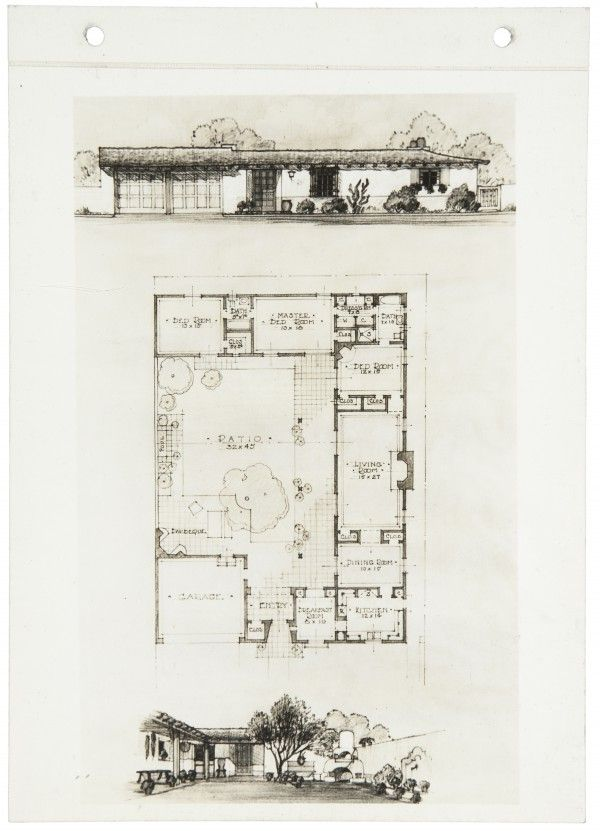 Early 1930s ranch house plan by cliff may courtyard and for Cliff may floor plans