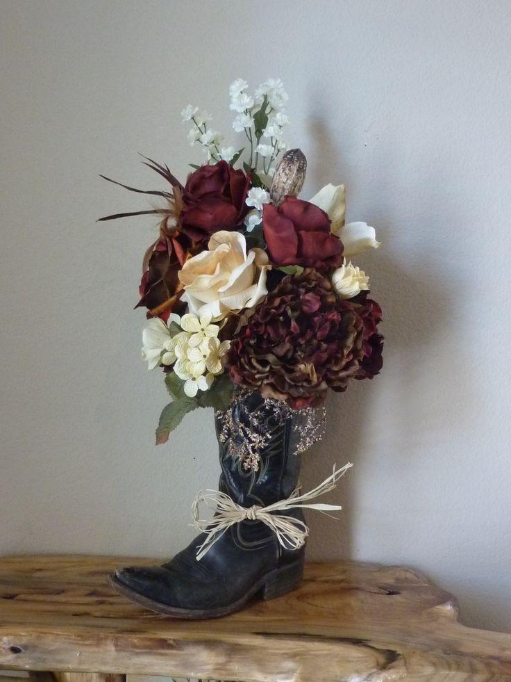 Old Cowboy Boot Floral Arrangements