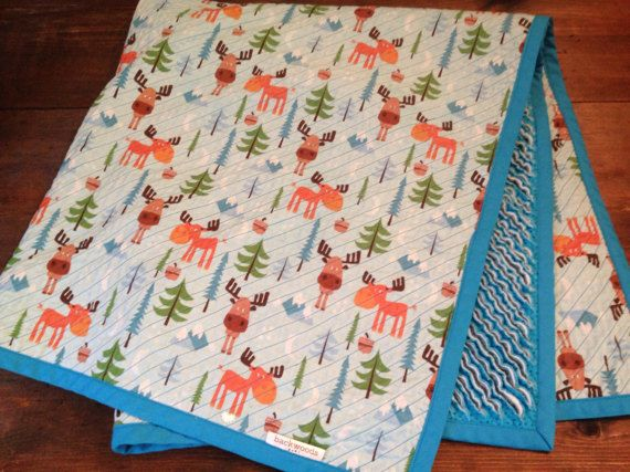 Faux Chenille Woodland Quilt: Moose, Mountains & Trees