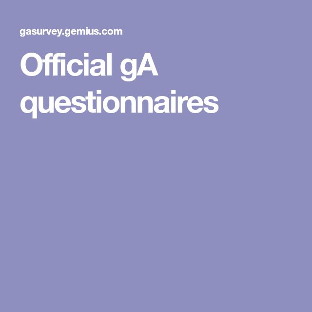 Official gA questionnaires