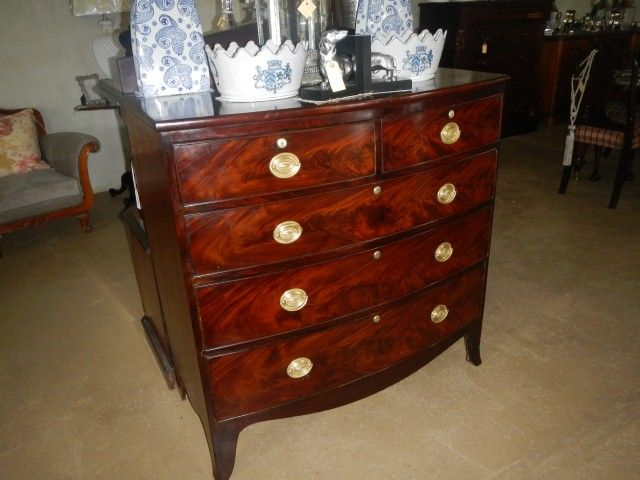 Georgian Mahogany bow fronted chest of drawers