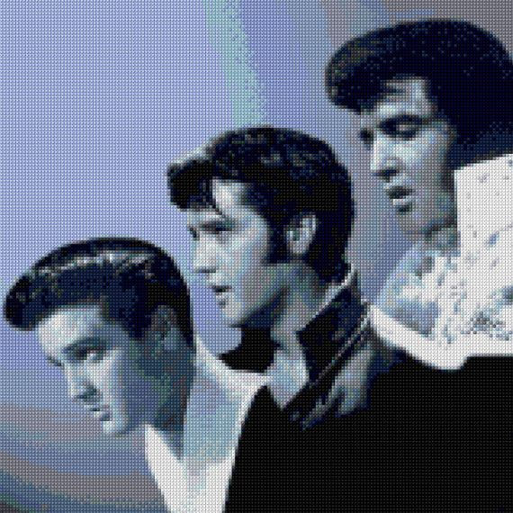 Stylized, color version of the life of Elvis portraits cross stitch pattern! I also have a listing of this picture in sepia colors. It would make a wonderful gift for your favorite Elvis fan or just keep it for yourself. Our charts are unlike any other available! Each color is on a