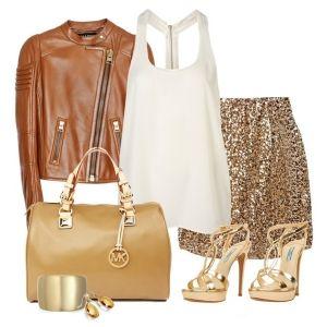 С чем носить золотые босоножки: белый топ, блестящая юбка, коричневая куртка и сумка в тон
