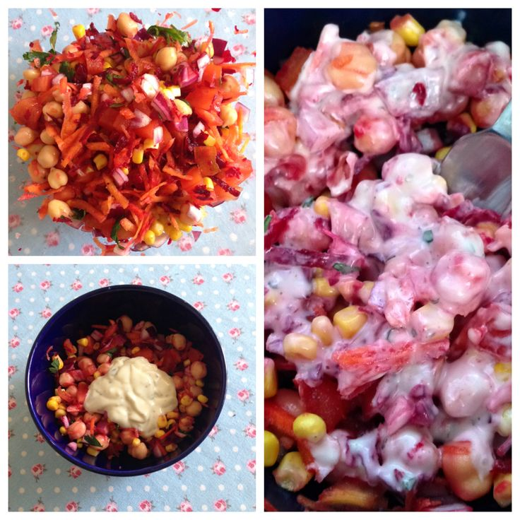 Salada arco-Íris  grão, milho, cebola roxa, beterraba, tomate, cenoura, salsa + molho de alho