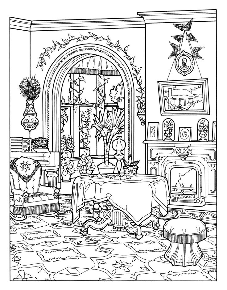 Free coloring page coloring-victorian-interior-style.-- Coloring Pages for adults website