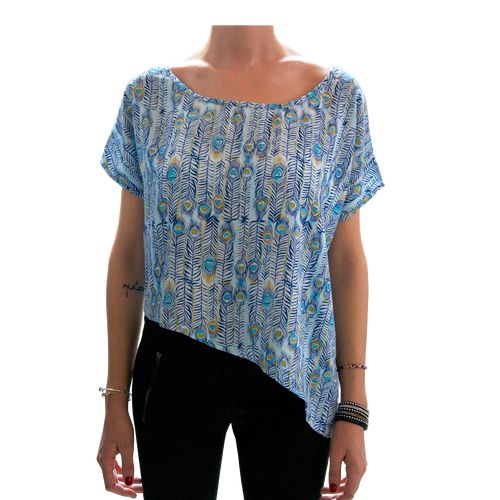 Sorayane - Asymmetric t-shirt with Peacock's feathers pattern - $17
