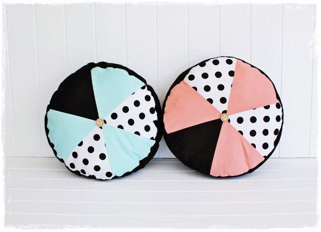Mint, Black & Polka Dot Circle Cushion by Willow & The Owl