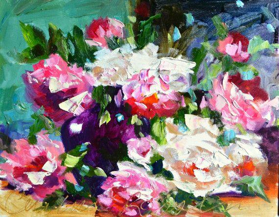 VIOLET VASE Art Print of Original Oil Painting, Rose in Violet Vase still life