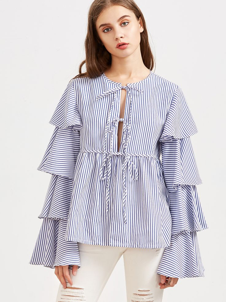 Blue Striped Tie Front Layered Ruffle Sleeve Babydoll Blouse -SheIn(Sheinside)