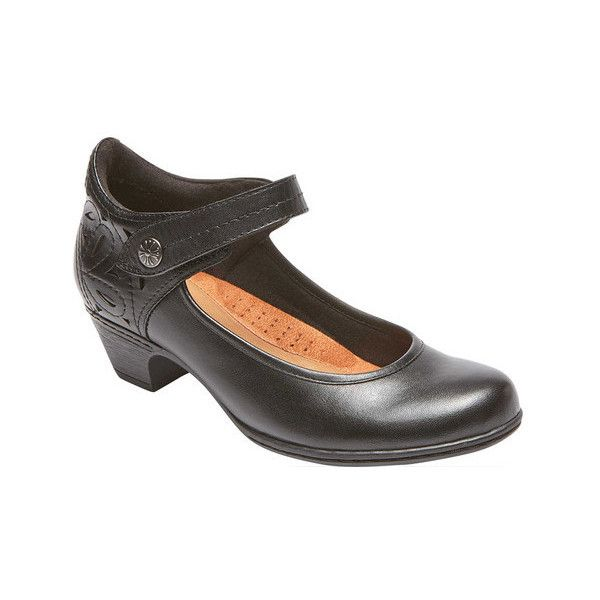 Women's Rockport Cobb Hill Abbott Ankle Strap Mary Jane ($120) ❤ liked on Polyvore featuring shoes, black, casual, mary janes, special occasion shoes, leather shoes, mary-jane shoes, black mary jane shoes and low heel ankle strap shoes