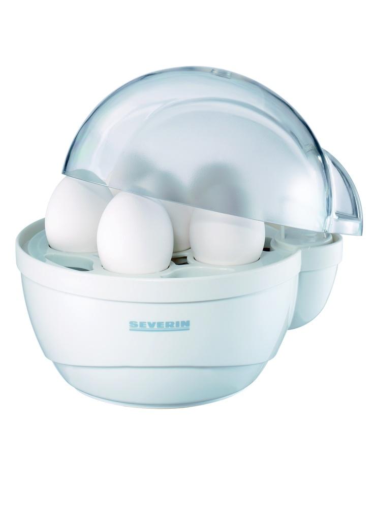CUECEHUEVOS 3050  Color / Material Blanco  Potencia 400 W.  Capacidad / Contenido Soporte de 1 a 6 huevos.  Dimensiones 174 x 160 x 198 mm (ancho x altura x profundidad)  Nº EAN 4008146305009  Carcasa de plástico.  Corte de seguridad.  Placa calorífica con revestimiento antiadherente.  Vaso de medida con punzón para huevos.  Zumbador que avisa cuando los huevos están listos.