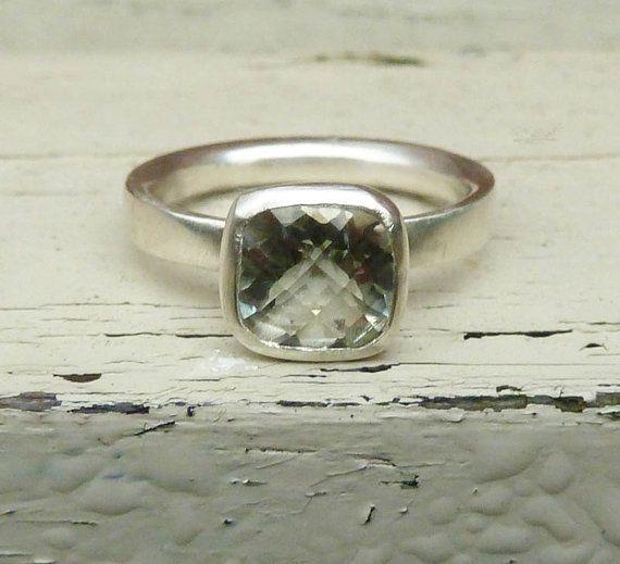 Green amethyst engagement ring silver green by karenjohnsondesign