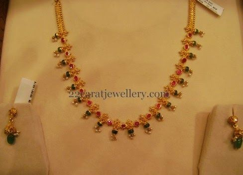 Jewellery Designs: 10gms Simple Gemstone Baby Necklace