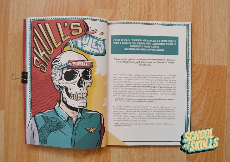 """School of Skulls es el último proyecto del escritor Marco Brunengo y el ilustrador Matu Santamaría.  School of Skulls es un proyecto gráfico literario, que se compone te dos partes el """"Manual Básico"""" que recoge un estilo de vida caótico, dinámico y divertido, donde las pautas que se marcan para ser un skull, más que adoctrinar, pretenden sacar una carcajada al lector.  La segunda parte """"Relatos"""" la encontramos al darle la vuelta al tomo, se lee de atrás hacia delante y reúne cuatro relatos…"""