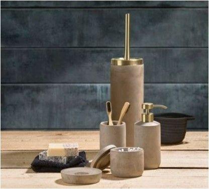 Zone Saxo Toiletbørste, Beton/Polyresin/Messing, Mat, Grå