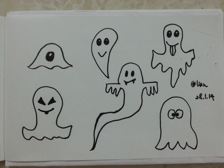 Six cute ghosts. #doodle #draw #drawing