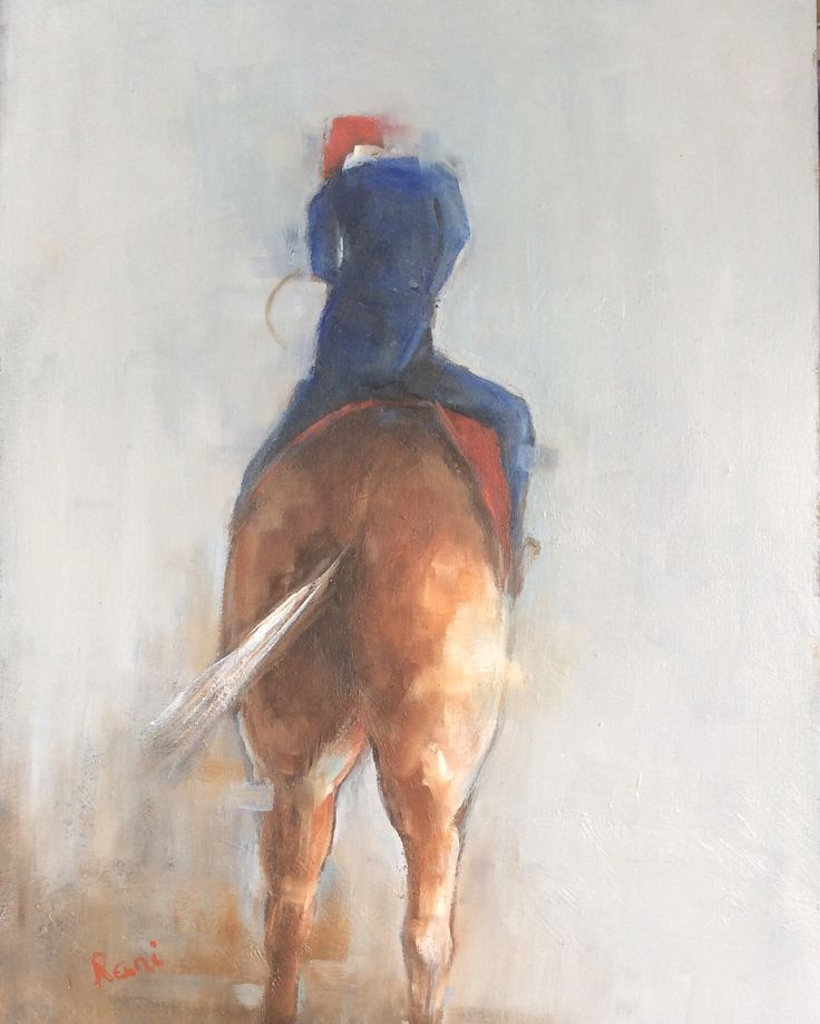 Horse and rider. Oil on board