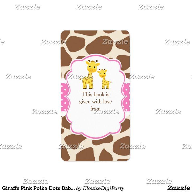 Giraffe Pink Polka Dots Baby Shower Bookplate