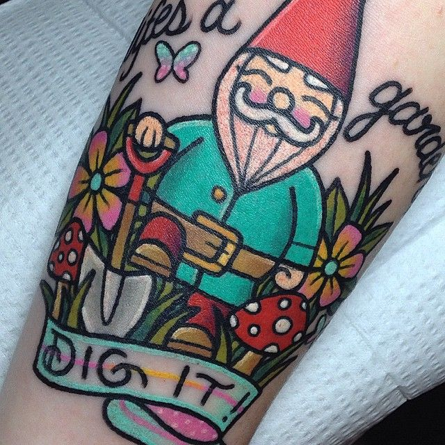 Like s a garden dig it here s a closer look at the for Garden gnome tattoo designs