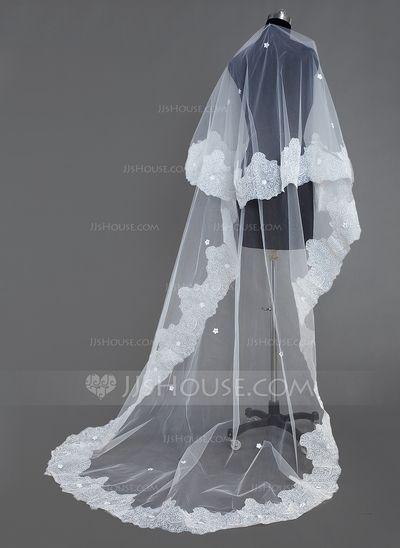 [41.87 €] 1 couche Voiles de mariée cathédrale avec Bord en dentelle