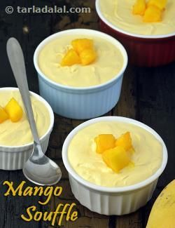 A soufflé is a classic dessert that is rich, creamy and unbelievably light. While the traditional recipes are egg-based, we reproduce the same light-as-air experience without using eggs. Veg gelatin powder helps us in this task! This Eggless Mango Soufflé combines the divine flavour of mangoes with the ethereal texture of soufflés to give your palate a treat that is par comparison.