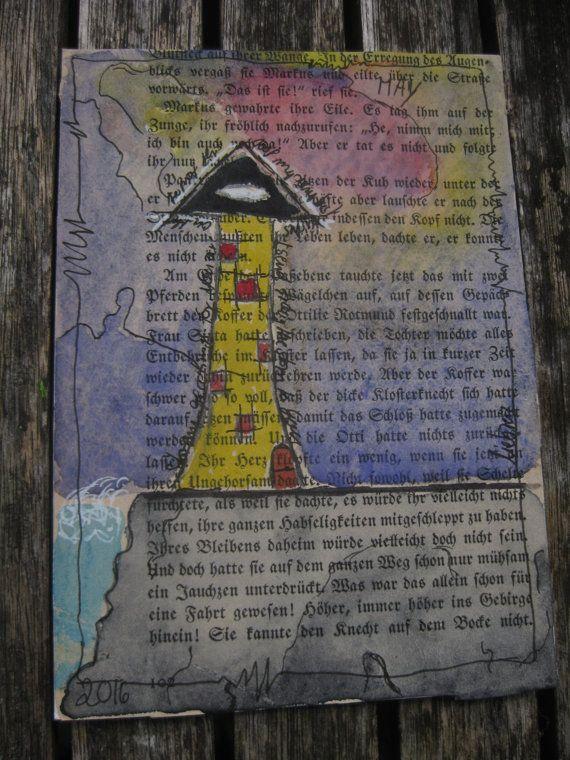 mixed media Postkarte Turm am Meer von AtelierLiebreiz auf Etsy