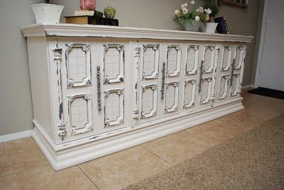 Classy Clutter: Beautiful Buffet - Before and Amazing After!: Distressed Buffet, Buffets, Grey Distressed, Idea, Painted Furniture, Classyclutter, Classy Clutter