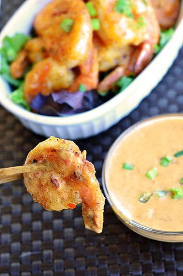 Bang Bang Shrimp   Paleo Fondue....Ingredients:  1 lb Jumbo Shrimp, 2 Tablespoons of Arrowroot Starch, 1 teaspoon of Black Pepper, 1 teaspoon of Garlic Powder, 2 to 3 Tablespoons of cooking fat (coconut oil, lard, ghee)......  For the Sauce : ½ cup of Coconut Cream*, 5 to 6 Tablespoons of Chile Paste, 1½ Tablespoons of Almond Butter, 1 Tablespoon of Apple Cider Vinegar.