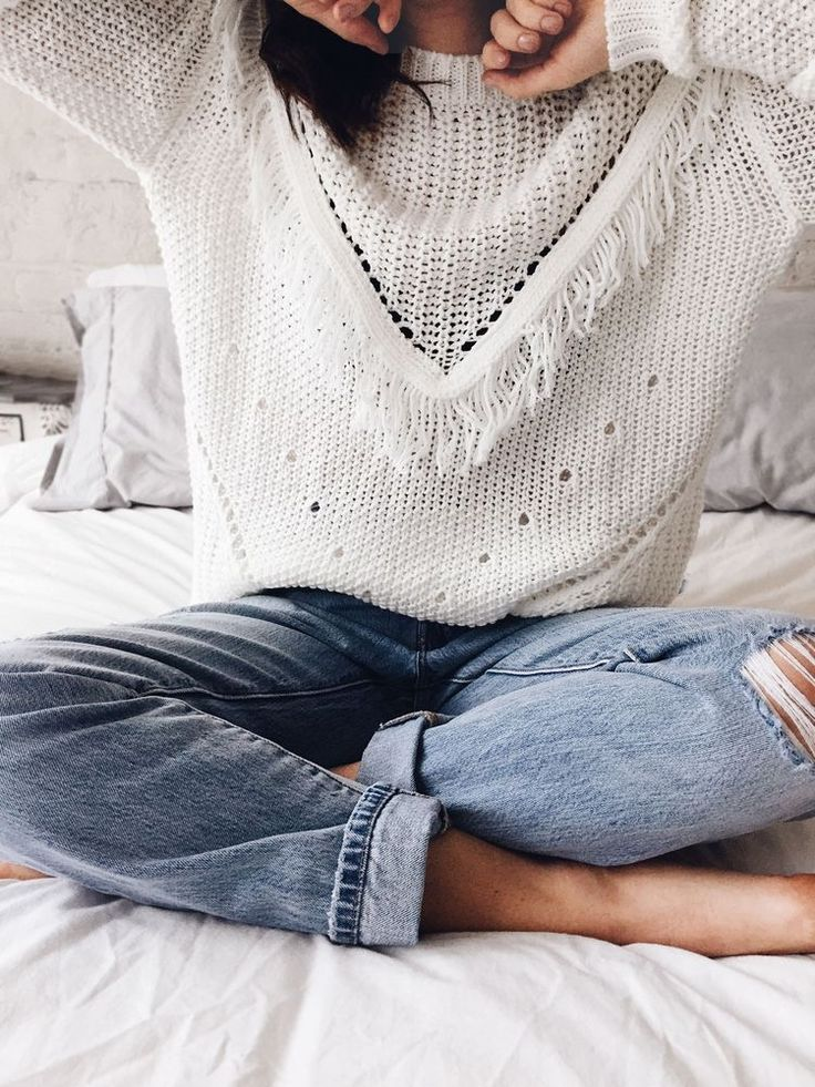Love this cozy look of the jeans and unique sweater. If the sweater is loose enough, I would wear it.
