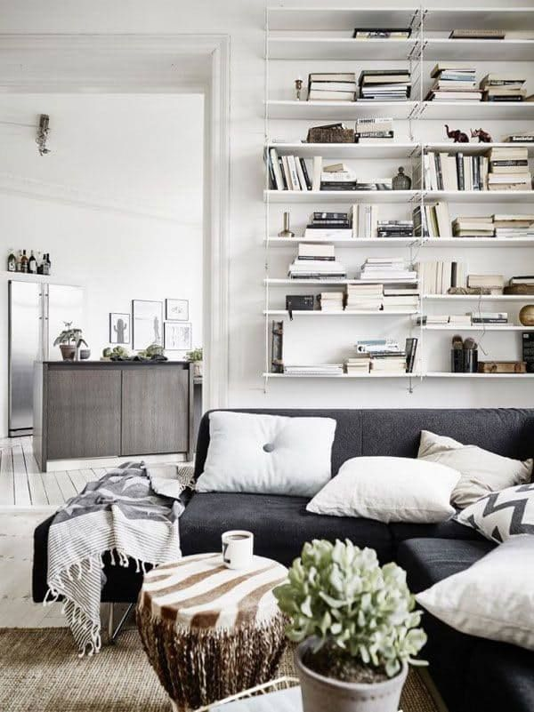 Bookshelves are a great way to add texture and excitment to any room, like this one from Nordic Design.
