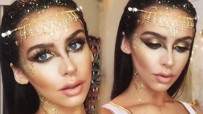 Altın Tanrıça Halloween Makyajı Uygulaması - Halloween gece (31 Ekim) için uygulayabileceğiniz altın tanrıça makyajı tekniği (Golden Goddess Halloween Makeup Video)