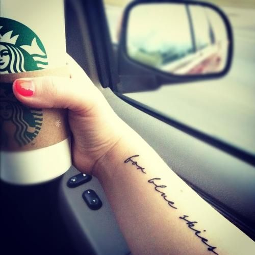 "Text Tattoo Ideas Pinterest: ""For Blue Skies,"" Strays Don't Sleep #lyrics #tattoo"