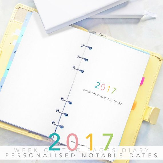 Personalised Diary 2017 Week on Two Pages by SuperZuperDesign