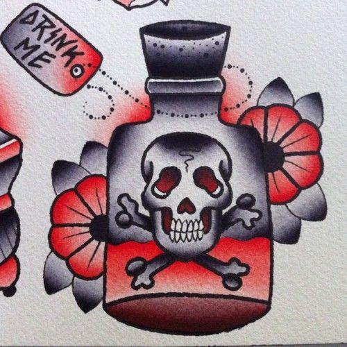 Drink Me Tattoo Flash | KYSA #ink #design #tattoo
